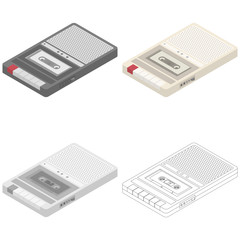 Vector isometric cassette tape recorder retro musical equipment set