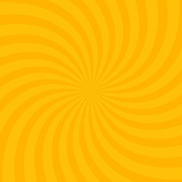 Swirling radial bright yellow pattern background. Vector illustration for swirl design. Vortex starburst spiral twirl square. Helix rotation rays. Scalable stripes. Fun sun light beams