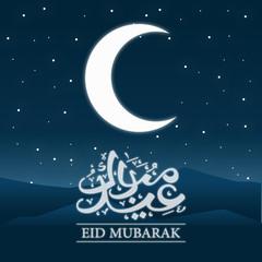 Eid mubarak calligraphy card in night view vector illustration design