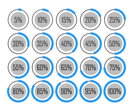 icons template pie graph circle percentage blue chart 5 10 15 20 25 30 35 40 45 50 55 60 65 70 75 80 85 90 95 100 percent set illustration round vector