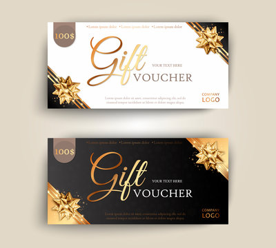 Vector set of luxury gift vouchers with ribbons and gift box. Elegant template for a festive gift card, coupon and certificate. Discount Coupon Template Vector Illustration EPS10