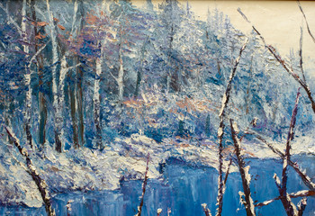 Winter landscape with winter white trees, bushes in the snow, beautiful winter forest. Original impressionism oil painting landscape.