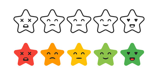 Satisfaction Rating. Set of Feedback star Icons in form of emotions. Excellent, good, normal, bad, awful. Vector illustration