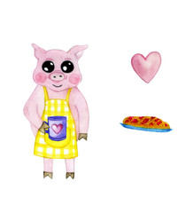 watercolor illustration of a pig in an apron with a mug and a pie