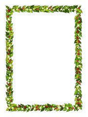 Christmas decorations withholly leaves, red and white poinsettia flowers and snow. Vertical frame with copy space,