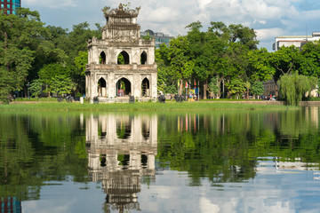 Turtle Tower (Thap Rua) in Hoan Kiem lake (Sword lake, Ho Guom) in Hanoi, Vietnam.