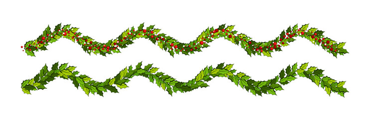 Christmas decorations with holly leaves and red berries.  Horizontal wavy garland