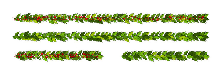 Christmas decorations with holly leaves and red berries.  Horizontal garlands