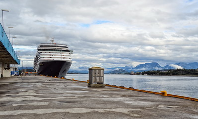 Cruise ship in the port.Norway