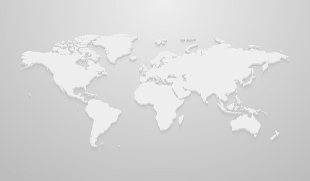 Vector illustration of world map mockup for infographics on the gray background