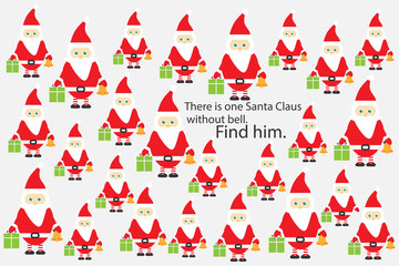 Find Santa Claus without bell, christmas fun education puzzle game for children, preschool worksheet activity for kids, task for the development of logical thinking and mind, vector illustration