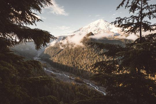 Sunrise, volcano and creek, Mt Rainier National Park, Washington, USA