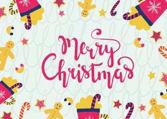 Vector illustration. Merry christmas card.