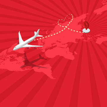 Isometric flat design travel the world transportation airplane drawing a heart shape ant path flying from Japan