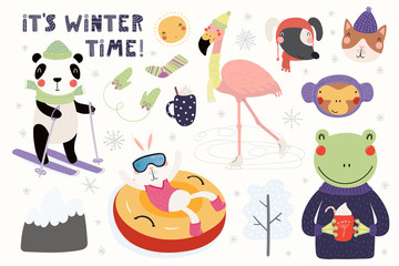 Big set with cute animals in winter, playing in the snow, skiing, tubing, skating. Isolated objects on white. Hand drawn vector illustration. Scandinavian style flat design. Concept for children print