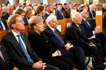 Ceremony to mark the 80th anniversary of Kristallnacht, also known as Night of Broken Glass, in Berlin