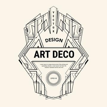 art deco logo vintage badge vector design template illustration