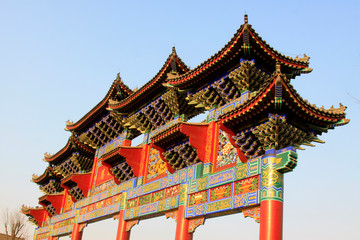Traditional Chinese style large arch, in the ancient Luanzhou city