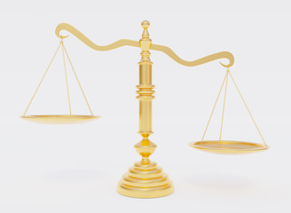 Gold scales of justice. Mockup of empty space for your objects in bowl. Overweight. 3d rendering.