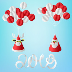 Blue Christmas and New Year 2019 card with Santa Claus, deer and paper-cut decorative balloons.