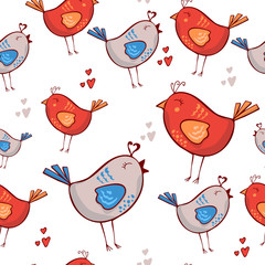 Romantic pattern with birds, hearts on a white background. Red Blue. Seamless pattern can be used for wallpapers, pattern fills, web page backgrounds, surface textures. doodle cute romantic wallpaper