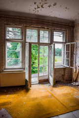 Decayed room at abandoned sanatorium