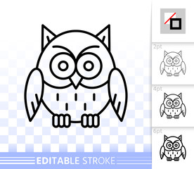 Owl simple black line halloween sign vector icon