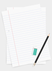 White paper sheet for business background with pencil and eraser. Vector.