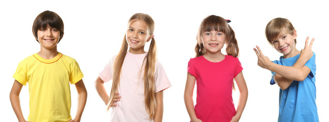 Little children in t-shirts on white background