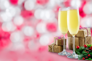 Champagne in in glasses with Christmas decoration