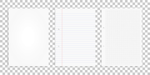 Set of white paper sheets on transparent background. Office supply object for business background. Vector.