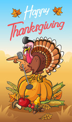 Greeting card for thanksgiving day with happy singing cool turkey on the pumpkin   with vegetables and fruits against the background of a beautiful autumn landscape