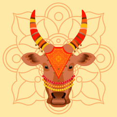 Maatu Pongal. Hindu harvest festival in India and Sri Lanka. The concept of the event. The head of a cow, decorated with cloth with embroidery, beads, bells. Background with traditional ornament.