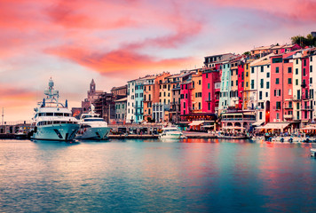 Unbelievable sunrise in Portovenere town. Picturesque spring seascape of Mediterranean sea,  Liguria, province of La Spezia, Italy, Europe. Traveling concept background.