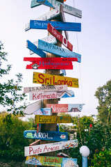 Direction to different places of the world, travel destinations and wonderful places, adventures and vacations