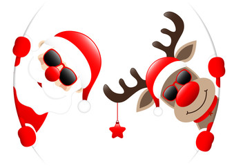 Santa & Rudolph With Star Sunglasses Round Banner Inside