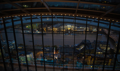 London, point of view of famous skycrapers by night from sky garden