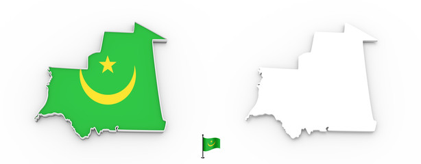 3D map of Mauritania white silhouette and flag