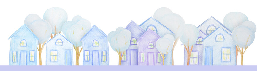 Winter composition of houses drawn with colored watercolor pencils