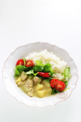 Homemade Thai cuisine, chicken green curry