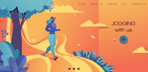 Vector horizontal landing page template in bold colors orange, blue and yellow. Young woman jogging in the summer landscape. Flat modern illustration