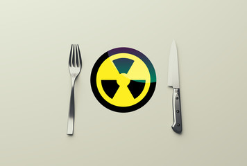 sign radiation on plate