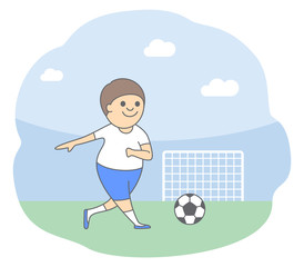 Illustration of football game. Football player kicks the ball into the goal. Isolated vector illustration in cartoon style
