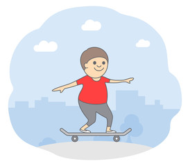 Concept of active lifestyle. A young man rides a skateboard. Isolated vector illustration in cartoon style.