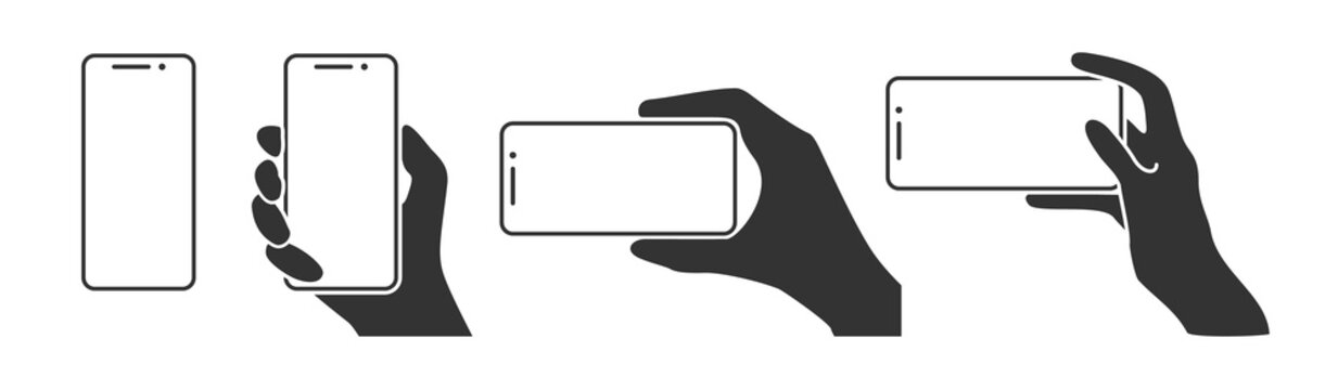 Hands holding a phone in horizontal and vertical positions. Blank screen smartphone for message or photo in various positions.