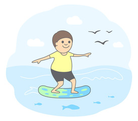 Concept of active lifestyle. Happy surfer rides on a moving wave. Vector illustration