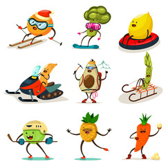 Funny fruits and vegetables are engaged in winter sports. Skiing, snowboarding, snowmobiling, hockey, skating on ice, climbing and other. Cute food cartoon character vector set isolated on background.