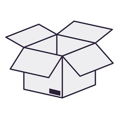 open cardboard box isolated icon