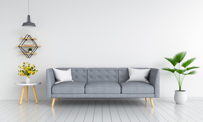 Gray sofa in living room for mockup, 3D rendering