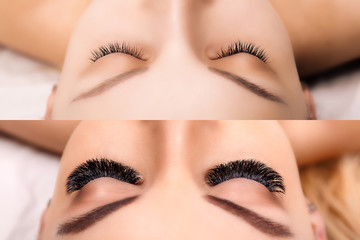 Eyelash Extension. Comparison of female eyes before and after. Hollywood, russian volume